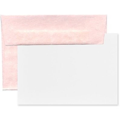 JAM Paper® Recycled Parchment Stationery Set, 25 Cards and 25 A7 Envelopes, Pink, set of 25 (304624568)