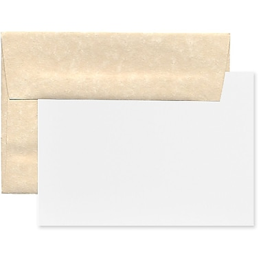 JAM Paper® Recycled Parchment Stationery Set, 25 Cards and 25 A7 Envelopes, Natural, 100/Pack (304624560g)