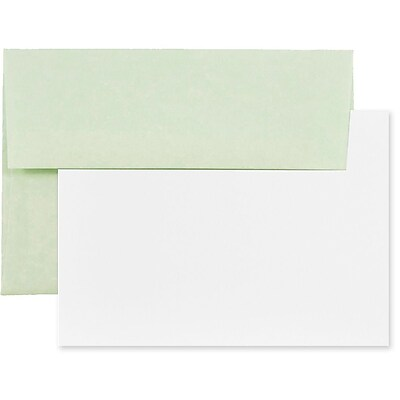 JAM Paper® Recycled Parchment Stationery Set, 25 Cards and 25 4bar A1 Envelopes, Green, set of 25 (304624553)