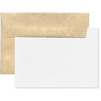 JAM Paper® Recycled Parchment Stationery Set, 25 Cards and 25 4bar A1 Envelopes, Brown, set of 25 (304624549)