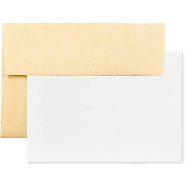 JAM Paper® Recycled Parchment Stationery Set, 25 Cards and 25 A2 Envelopes, Antique Gold Yellow, 100/Pack (304624542g)
