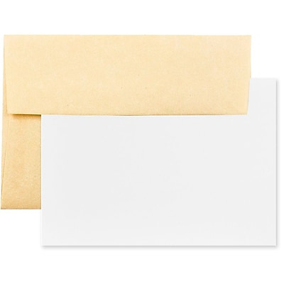JAM Paper® Recycled Parchment Stationery Set, 25 Cards and 25 A7 Envelopes, Antique Gold Yellow, set of 25 (304624544)