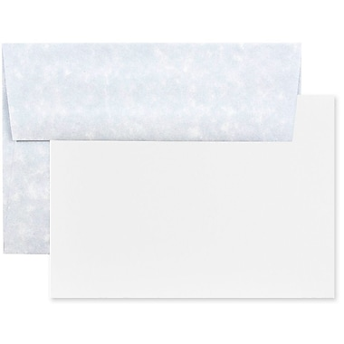 JAM Paper Recycled Parchment Stationery Set, 25 Cards and 25 A6 Envelopes, Blue, 100/Pack (304624547g)
