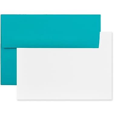JAM Paper® Recycled Stationery Set, 25 White Cards and 25 A6 Envelopes, Brite Hue Sea Blue, 4 packs of 25 (304624527g)