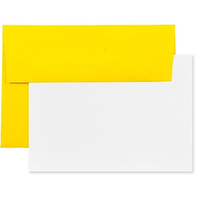JAM Paper® Recycled Stationery Set, 25 White Cards and 25 A7 Envelopes, Brite Hue Yellow, set of 25 (304624540)