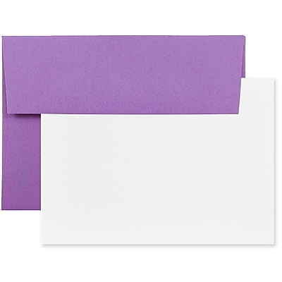 JAM Paper® Recycled Stationery Set, 25 White Cards and 25 A6 Envelopes, Brite Hue Violet Purple, set of 25 (304624535)