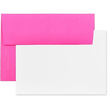 JAM Paper® Stationery Set, 50 White Cards and 25 A6 Envelopes, Brite Hue Ultra Fuchsia Pink, 100/Pack (304624507g)