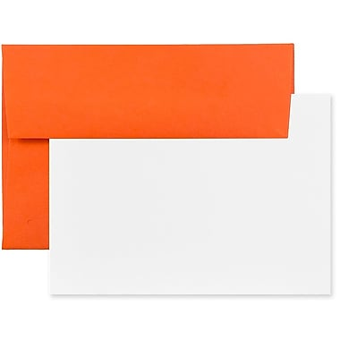 JAM Paper® Recycled Stationery Set, 25 White Cards and 25 A2 Envelopes, Brite Hue Orange, set of 25 (304624518)