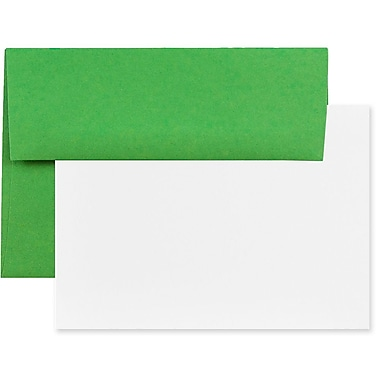 JAM Paper® Recycled Stationery Set, 25 White Cards and 25 A7 Envelopes, Brite Hue Green, 100/Pack (304624512g)