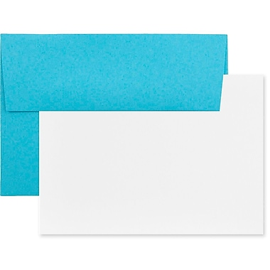 JAM Paper® Recycled Stationery Set, 25 White Cards and 25 A6 Envelopes, Brite Hue Blue, 100/Pack (304624503g)