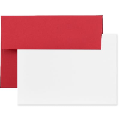 JAM Paper® Recycled Stationery Set, 25 White Cards and 25 A6 Envelopes, Brite Hue Red, set of 25 (304624523)