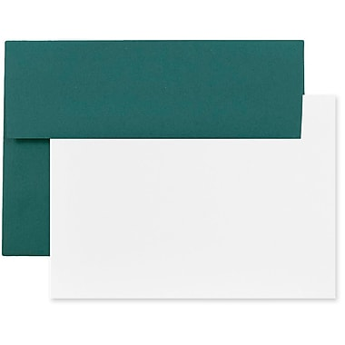 JAM Paper® Stationery Set, 25 White Cards and 25 A2 Envelopes, Teal Blue, set of 25 (304624622)