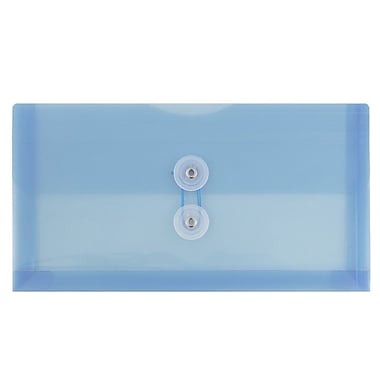 JAM Paper® #10 Plastic Envelopes with Button and String Tie Closure, 5.25 x 10, Blue Poly, 24/Pack (921B1bug)