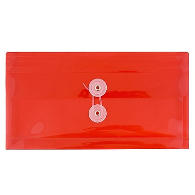 JAM Paper® #10 Plastic Envelopes with Button and String Tie Closure, 5 1/4 x 10, Red Poly, 12/pack (921B1RE)