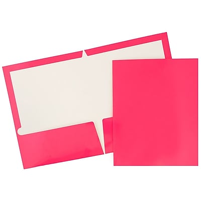 JAM Paper® 2 Pocket Laminated Glossy Presentation Folders, Fuchsia Hot Pink, 25/Pack (385GFUD)