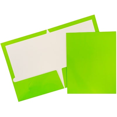 JAM Paper® Glossy Two Pocket Presentation Folders, Lime Green, 6/pack (385GLIA)