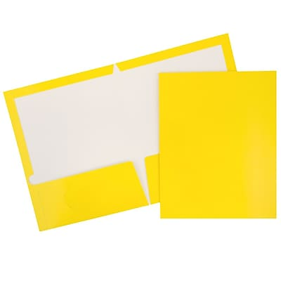 JAM Paper® 2 Pocket Laminated Glossy Presentation Folders, Yellow, 25/Pack (385GYED)