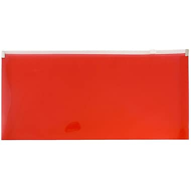 JAM Paper® #10 Plastic Envelopes with Zip Closure, 5 x 10, Red Poly, 12/Pack (921Z1RE)