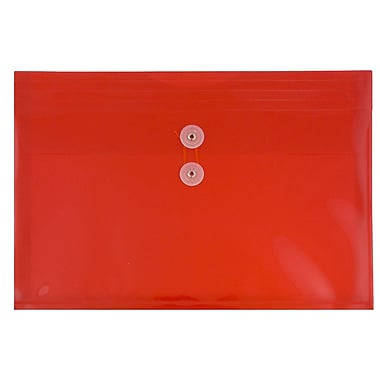 JAM Paper® Plastic Envelopes with Button and String Tie Closure, Legal Booklet, 9.75 x 14.5, Red Poly, 12/Pack (219B1RE)