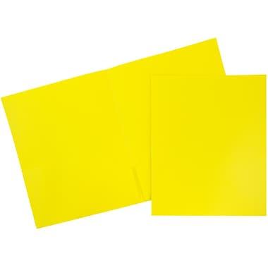 JAMMD – Chemise d'école en plastique biodégradable à deux pochettes, 9 x 12 po, jaune, 96/boîte