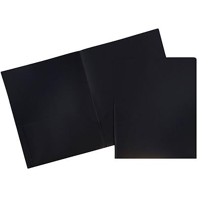 JAM Paper® Plastic 2 Pocket Pop School Folders, Black, 6/pack (382Ebld)