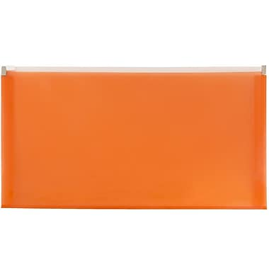 JAM Paper® #10 Plastic Envelopes with Zip Closure, 5 x 10, Orange Poly, 12/Pack (921Z1or)