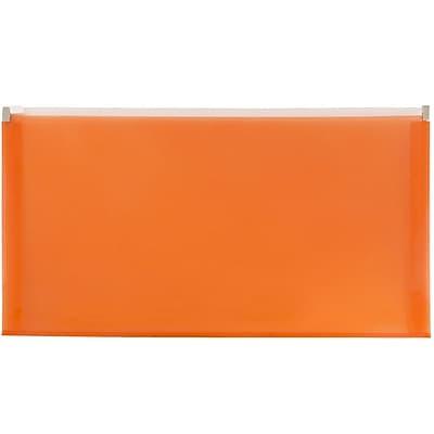 JAM Paper® #10 Plastic Envelopes with Zip Closure, 5 x 10, Orange Poly, 12/pack (921Z1OR)