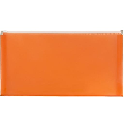 JAM Paper® Plastic Expansion Envelopes with Zip Closure, #10 Booklet Wallet, 5 x 10, Orange, 12/Pack (921Z1OR)
