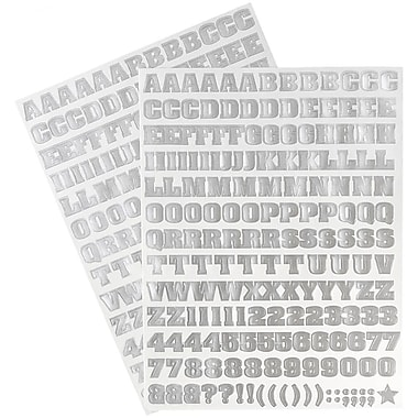 JAM Paper® Self Adhesive Alphabet Letters Stickers, Silver, 5/Pack (2132817357g)