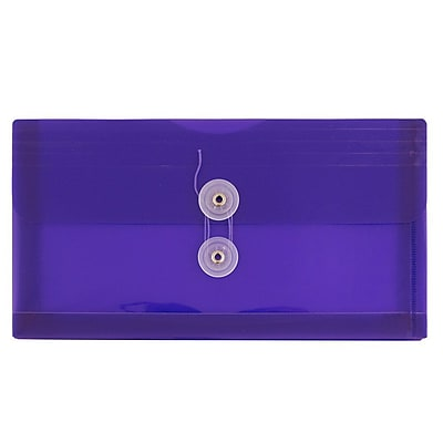 JAM Paper® #10 Plastic Envelopes with Button and String Tie Closure, 5 1/4 x 10, Purple Poly, 12/pack (921B1PU)
