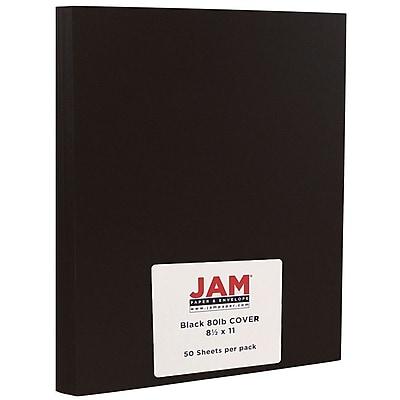 JAM Paper Matte Cardstock, 8.5 x 11, 80lb Black Smooth, 50/pack (64429575) 1929369