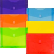 "JAM Paper® Plastic Envelopes with VELCRO® Brand Closure, 2"" Exp, Letter Booklet, 9.75x13, Assorted Colors, 6/pack (218V2OLIPRYS)"