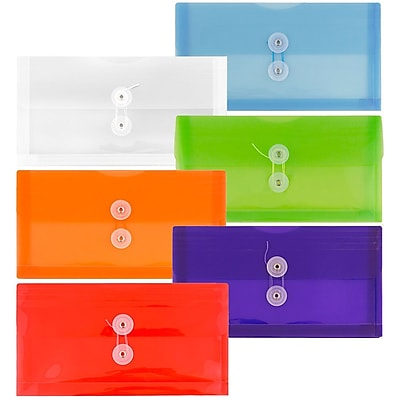 JAM Paper® #10 Plastic Envelopes with Button and String Tie Closure, 5.25 x 10, Assorted Colors, 6/pack (921B1ASSRTD)