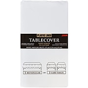JAM Paper® Paper Table Cover with Plastic Lining, White Tablecloth, Sold Individually (291323337)