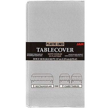 JAM Paper® Paper Table Covers, Silver Table Cloths, Sold Individually (291325379)