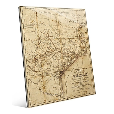 Click Wall Art 'Sepia Texas Map' Graphic Art; 20'' H x 16'' W x 1'' D
