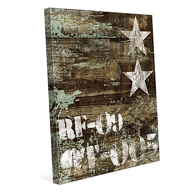 Click Wall Art 'RF-09 Typography and Stars' Graphic Art on Wrapped Canvas; 30'' H x 20'' W x 1.5'' D