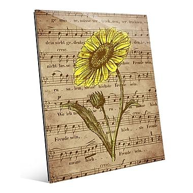 Click Wall Art 'Sepia Musical Sunflower' Graphic Art; 20'' H x 16'' W x 1'' D