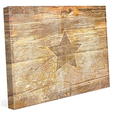 Click Wall Art 'Ochre Branded Star' Graphic Art on Wrapped Canvas; 11'' H x 14'' W x 1.5'' D