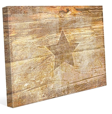 Click Wall Art 'Ochre Branded Star' Graphic Art on Wrapped Canvas; 16'' H x 20'' W x 1.5'' D