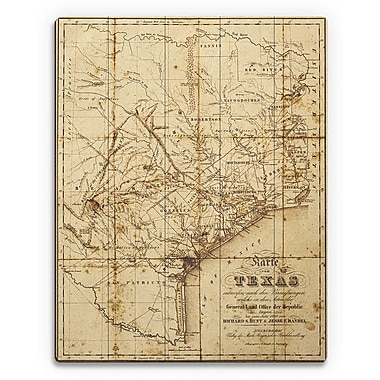 Click Wall Art 'Sepia Texas Map' Graphic Art on Plaque; 12'' H x 9'' W x 1'' D