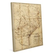 Click Wall Art 'Sepia Texas Map' Graphic Art on Wrapped Canvas; 14'' H x 11'' W x 1.5'' D