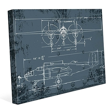 Click Wall Art 'Airplane Blueprint' Graphic Art on Wrapped Canvas; 11'' H x 14'' W x 1.5'' D