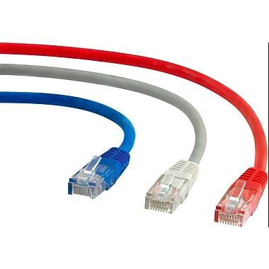 Staples - Câbles de réseau Cat5e 7 pi, rouge/gris/bleu, paq./3