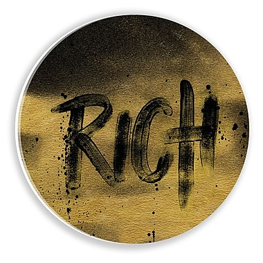 Two Palms Art Bazaar 'Rich' by Bohemian Riot Textual Art on Plaque; 29'' H x 29'' W x 1'' D