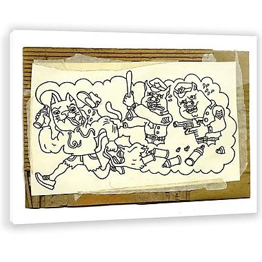 Two Palms Art Bazaar 'Pigs' by Jon Lavoie Graphic Art on Plaque; 30'' H x 37.5'' W x 1'' D