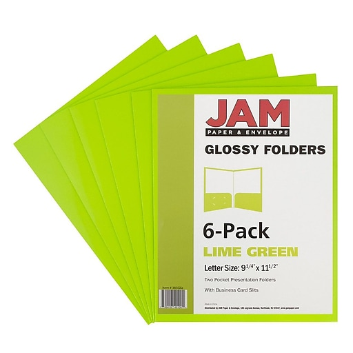 Jam paper glossy two pocket presentation folders lime green 6 httpsstaples 3ps7is reheart Image collections