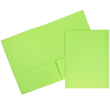 JAM Paper® Premium Paper Cardstock Two Pocket Presentation Folders, Lime Green, 6/pack (166628529B)