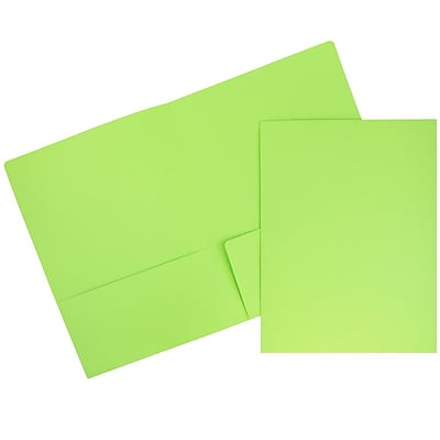 JAM Paper® Premium Paper Cardstock Two Pocket Presentation Folders, Lime Green, 100/pack (166628529C)