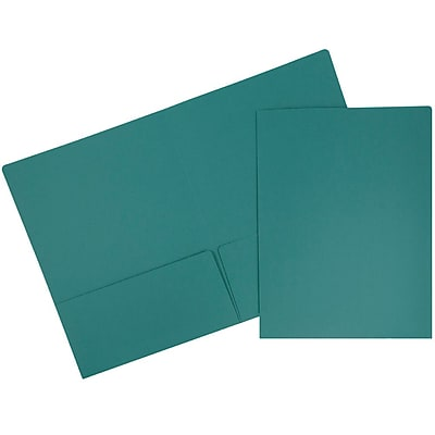 JAM Paper® Premium Paper Cardstock Two Pocket Presentation Folders, Teal Blue, 6/pack (166628274B)